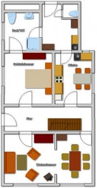 Grundriss vom Erdgeschoß des Ferienhauses Käptn's Hus